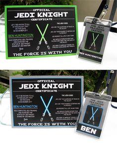 Star Wars Jedi Training Certificate and Jedi Training Pass