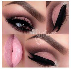 Pink lips and pink eyeshadow makeup