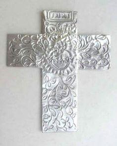 Foil Cross | Art class ideas-foil tape and foam cross.
