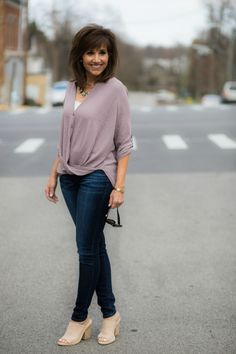 The Perfect Blouse for Spring. Love the twist front of this blouse. It gives your everyday style interest.