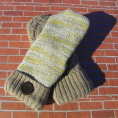 Tan and yellow Fleece Lined recycled sweater mittens upcycled sweater mittens ladies sweater gloves reclaimed sweater repurposed clothes