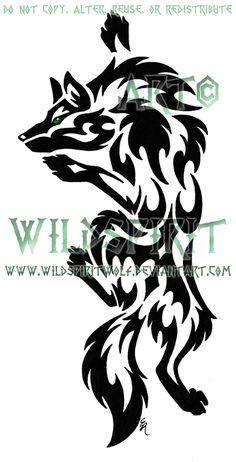 Green-Eye Climbing Wolf Tattoo by WildSpiritWolf.deviantart.com on @DeviantArt