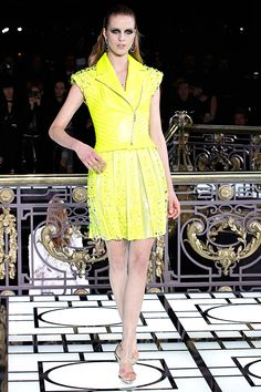 Neon Color Biker Jacket Trend forSpring Summer 2013.  Versace Couture Spring Summer 2013  #Trendy #Fashion