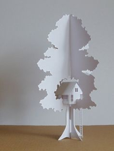 Paper treehouse sculpture