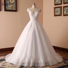 c5d11899a1 Lover Kiss Vestido De Noiva 2018 V-neck Bridal Ball Gowns Sleeveless Wedding  Dresses Lace