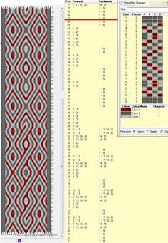 26 cards, 3 colors, repeats every 66 rows, GTT ༺❁ Inkle Weaving, Inkle Loom, Card Weaving, Weaving Art, Tablet Weaving Patterns, Bead Loom Patterns, Finger Weaving, Types Of Weaving, Modern Crafts