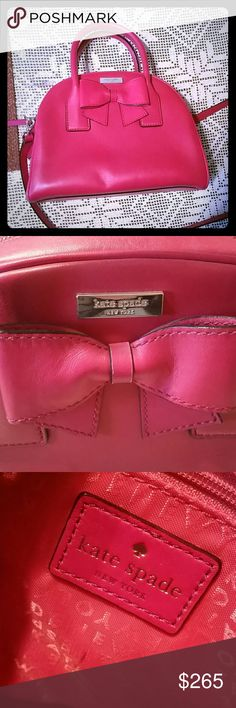 Kate Spade Montrose Ave Leeland Gently used Kate Spade Montrose Ave Leeland. Red with beautiful bow detail. Small pen mark in 3rd picture under logo tag inside bag. And a couple small scuff marks on bottom of bag. In almost perfect condition. Gorgeous soft cherry red leather. Perfect for holiday season. Includes shoulder strap. kate spade Bags Shoulder Bags