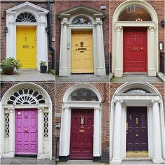 Las puertas de Dublin / red and yellow Dublin doors Palazzo, Garage Doors, Yellow, Outdoor Decor, Red, Home Decor, Cool Doors, Ireland, Windows