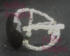 Black Acrylic and Czech Bead Swarovski Crystal Square Mini Bangle with Silver Filigree Spacers by Bubba Bangles