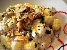 Gnocchi di patate e zucca con funghi e prosciutto cotto