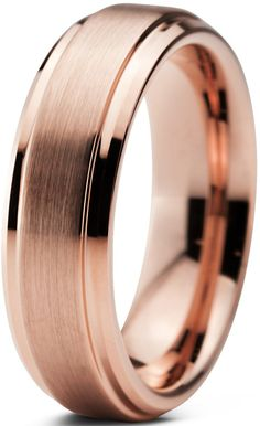 Tungsten Wedding Band Ring 6mm for Men Women Comfort Fit 18K Rose Gold Plated Beveled Edge Brushed Polished Lifetime Guarantee Size 4.5