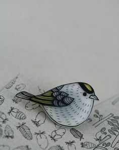 Kinglet Pin | by LilaRubyKingShop on Etsy, 19.00 Dollars. There is also pins of Extinct Birds - like the Moho - Pin: http://www.etsy.com/listing/107487526/extinct-birds-moho-pin
