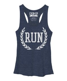Another great find on #zulily! Navy 'Run' Racerback Tank - Women by Chin Up Apparel #zulilyfinds