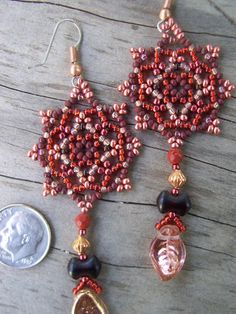 Handmade Artisan Beadwork Earrings Mandala by DancingDogStudio