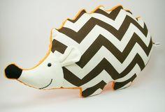 Hedgehog Pillow, Woodland Nursery Decor, hedgehog plush, brown and orange nursery