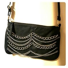Black crossbody bag with silver accent Edgy cute bag Bags Crossbody Bags