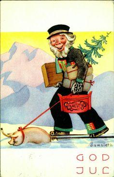 Norwegian Christmas, Old Christmas, Vintage Christmas, Christmas Cards, Christmas Postcards, Christmas Trees, Vintage Cards, Vintage Postcards, Scandinavian Countries