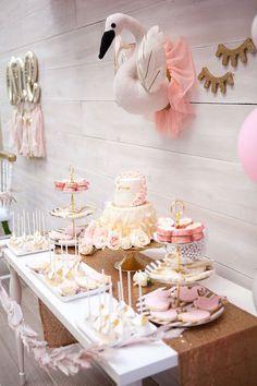 Dessert table from a Sweet Swan Birthday Party on Kara's Party Ideas | KarasPartyIdeas.com (34)