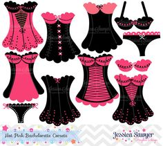 Bachelorette Party Clipart, Bachelorette Party Ideas, for DIY Weddings, commerical use, or personal use. Would be super cute for a Corset Invitation!