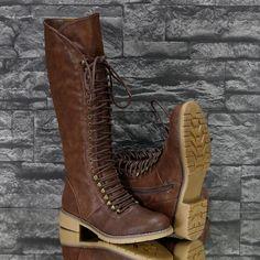 Veterlaarzen: Trendy Lange Laarzen met Veter Bruin - Goedkoop en morgen al in huis!