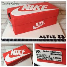 Nike shoebox cake- all hand made, all hand cut and all completely edible.
