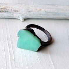 Copper Chrysoprase Ring Emerald Pale Shamrock Caribbean Green Handmade Organic Raw Modern