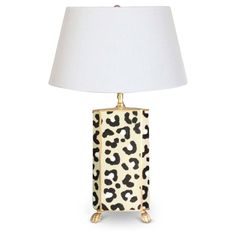 Hand Painted White Leopard Lamp