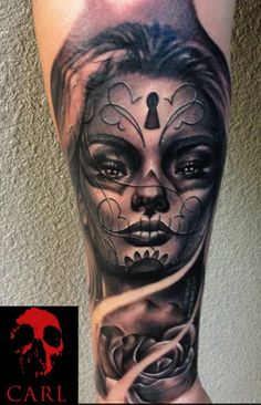 Sugar Skull Girl (tattoo) Keyhole - http://dunway.biz