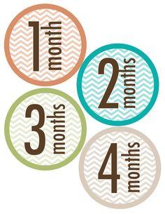 Printable monthly onesie stickers Boy Chevron by memoryln on Etsy, $5.00