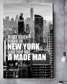 New York quote Mark Twain/New York Photography/New York art/New York decor/black and white photography/NYC/New York skyline/New York print New York Black And White, Black And White Prints, Office Canvas Art, New York Quotes, Cool Artwork, Amazing Artwork, Paris Wall Decor, Personalized Wall Decor, Mark Twain Quotes