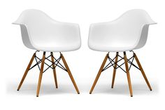 Pascal White Molded Plastic Chairs with Brown Wood Legs (set of 2) | Interior Express