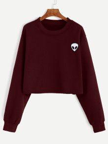 kurz Sweatshirt mit Alien Stickereien-burgund rot