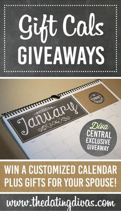 SUCH a great gift idea!!!  I'm in love with this! Gift Cals lets you to create a custom calendar starting from any chosen month. The calendars have been designed to conceal gift card sized envelopes which can be personalized for the recipient to open each month, counting down 12 months until it's time to celebrate again! www.TheDatingDivas.com