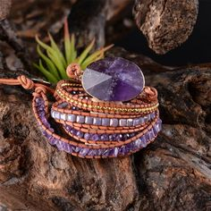 Handmade jewelry Boho bracelet made of natural stone and high-quality leather for you. Friends bracelet is a wonderful bracelet Beaded Bracelet Boho – Etsy Style Amethyst Armband, Amethyst Bracelet, Stone Bracelet, Beaded Wrap Bracelets, Handmade Bracelets, Jewelry Bracelets, Hippie Bracelets, Septum Jewelry, Women's Bracelets