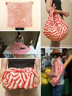 """Furoshiki...Okay, """"Spoony's last pin of 3 on this outrageously cool method of fabric wrapping with video tutorials, examples and even more Ideas!!!"""