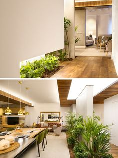 When designing a vacation apartment in Barcelona, Egue y Seta created a relaxed interior by including built-in planters in the floor filled with a combination of artificial and low maintenance plants.