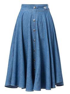 Blue, High Waist, Button Up, Denim, Skater Skirt