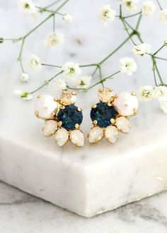 Buy Now Navy Blue Earrings Bridal Blue Navy Stud Earrings Dark. Pearl Stud Earrings, Pearl Studs, Blue Earrings, Crystal Earrings, Bridesmaid Earrings, Bridal Earrings, Bridesmaids, Blue Crystals, Navy Blue