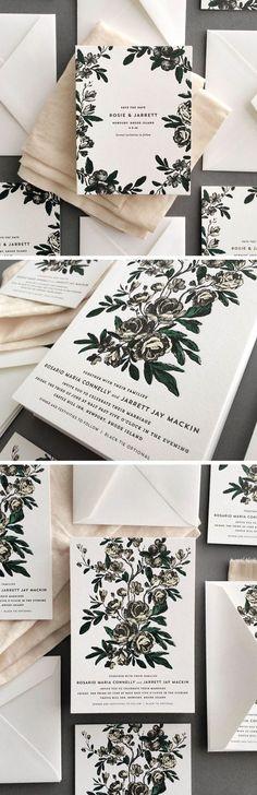 rustic chic winter wedding invitations/ modern wedding invitations/ black and white wedding invitations/ rustic chic wedding invitations