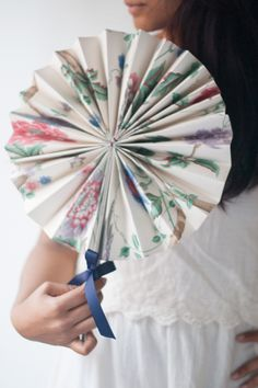 Laura Ashley Blog | MAKE and DO: WALLPAPER WEDDING PINWHEEL FANS | http://blog.lauraashley.com
