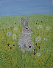Rabbit In Clover painting