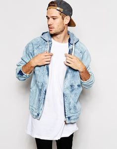 River Island Denim Jacket In Acid Wash