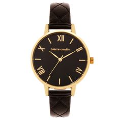 The Petra Pierre Cardin Watch is beautiful, classic and elegant. All stainless steel, featuring gold roman numeral batons on a black dial, this watch captures attention. The black leather detailed strap is modern and very on trend!