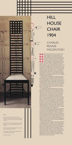 Mackintosh Chair, Mackintosh Furniture, Art And Craft Design, Art Deco Design, Deco Furniture, Furniture Styles, Bauhaus, Origami Chair, Charles Rennie Mackintosh Designs
