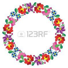Kalocsai hímzés kör - magyar népi virágos mintával photo
