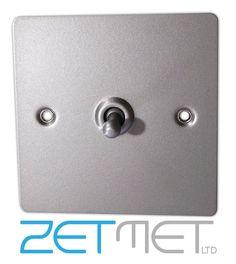 Volex 1 Gang 2 Way Flat Plate Satin Chrome Retro Toggle Switch Light Switch 10A