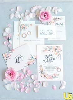 floral wedding invitations/ elegant wedding invitations/ floral wedding invitations/ blush pink wedding invitations