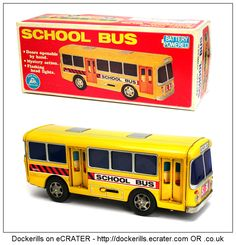 School Bus, ALPS, Japan. Vintage Tin Litho Tin Plate Toy. Mystery Action / Battery Operated Mechanism, Flashing Lights.