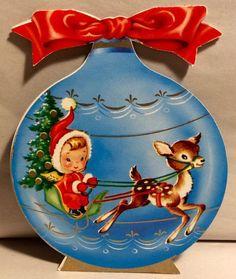 Vintage Christmas Card Ornament. Retro Christmas Ornament.