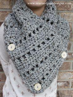 Crochet Pattern Katie Button Cowl Teen Womens by Rescued Paw Designs Col Crochet, Crochet Buttons, All Free Crochet, Chunky Crochet, Crochet Gifts, Crochet Shawl, Crochet Stitches, Crochet Patterns, Knitting Patterns
